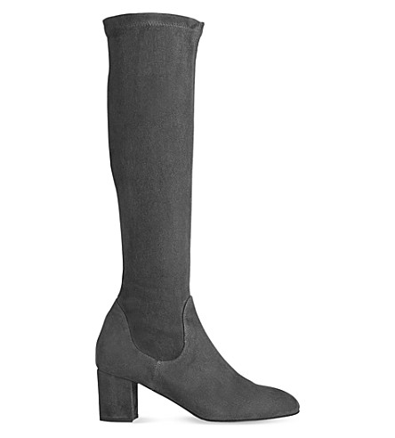 LK BENNETT Keri suede knee-high boots (Gry-grey