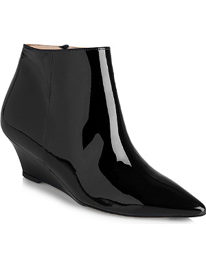 LK BENNETT Laurie patent leather wedge boots