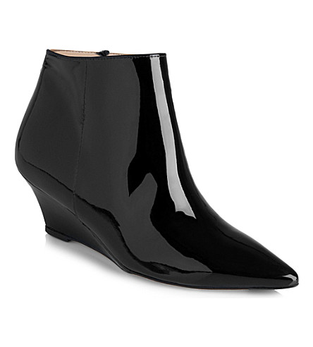 LK BENNETT Laurie patent leather wedge boots (Bla-black