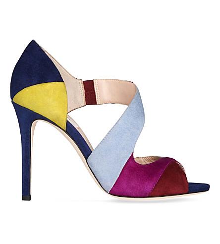 LK BENNETT Leona colour-block suede sandals (Mul-denim