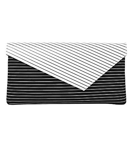 LK BENNETT Leonie patterned leather clutch bag (Bla-white