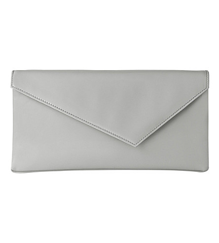LK BENNETT Leonie patent-leather clutch (Gry-mist