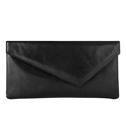 LK BENNETT Leonie patent-leather clutch (Bla-black