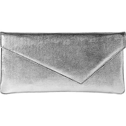 LK BENNETT Leonie textured leather clutch (Sil-silver