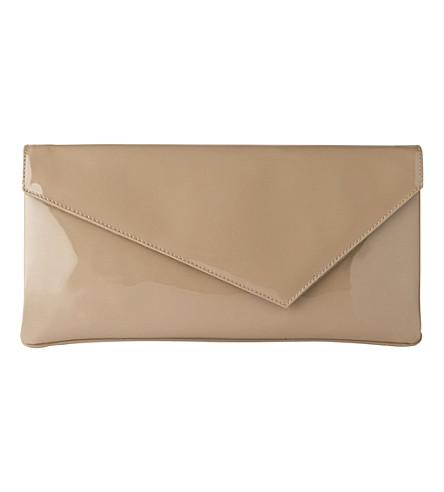 LK BENNETT Leonie patent leather clutch (Tau-taupe