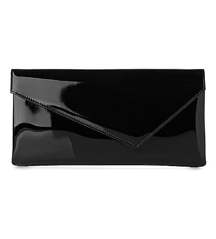 LK BENNETT Leonie patent-leather asymmetric clutch (Pri-black