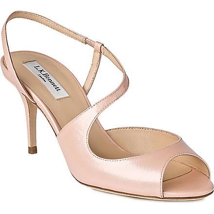 LK BENNETT Palmita saffiano leather sandals (Pin-rose