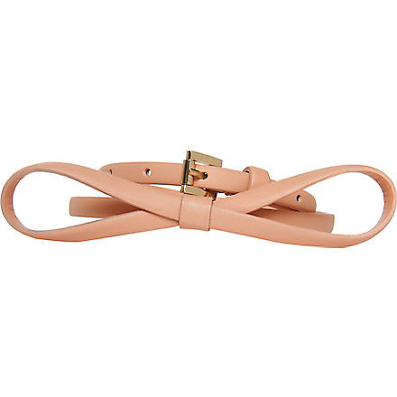 LK BENNETT Pam leather skinny belt (Pin-pale pink
