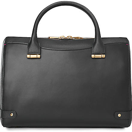 LK BENNETT Rosamund medium leather bowling bag (Bla-black