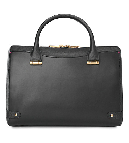 LK BENNETT Rosamund medium leather bowling bag (Bla-black