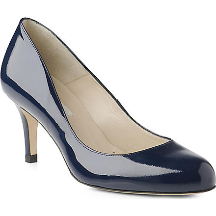 LK BENNETT Sabira mid-heel leather courts (Navy