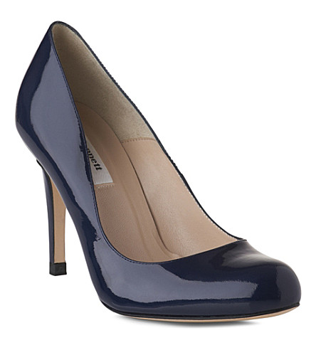 LK BENNETT Shilo mid-heel leather courts (Navy