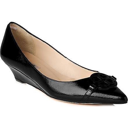 LK BENNETT Taylor patent leather wedge courts (Bla-black