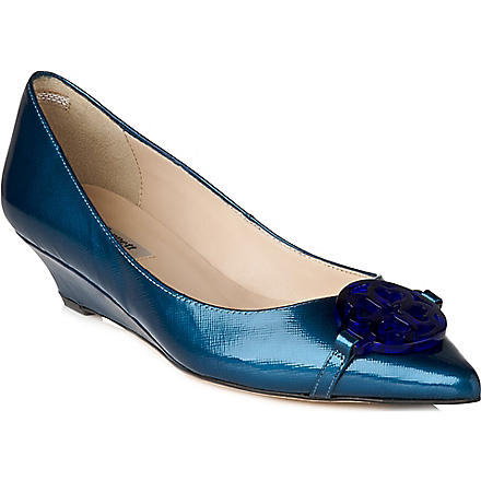 LK BENNETT Taylor patent leather wedge courts (Blu-royal