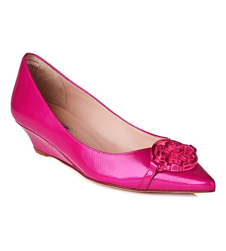 LK BENNETT Taylor patent leather wedge courts (Pin-fuchsia