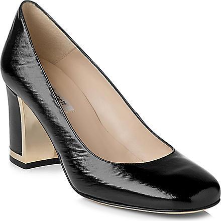 LK BENNETT Tia patent-leather block-heel courts (Bla-black