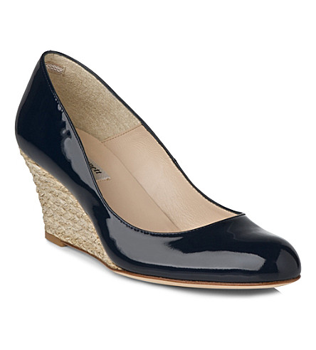 LK BENNETT Zella leather wedges (Blu-navy