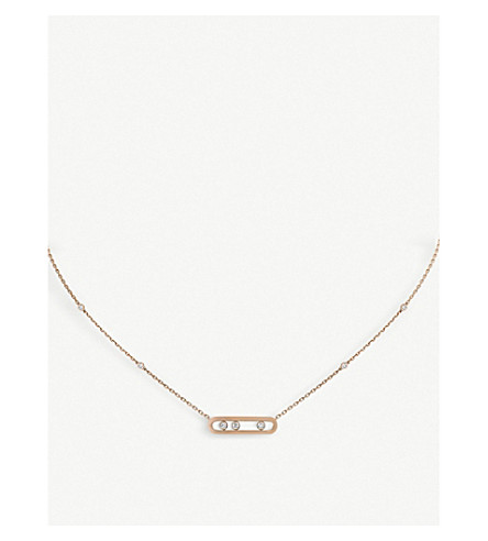 MESSIKA Baby Move 18ct pink-gold and diamond necklace (Pink