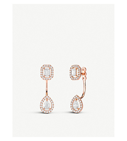 MESSIKA My Twin Toi & Moi 18ct pink-gold and diamond earrings (Pink
