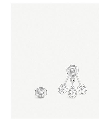 MESSIKA My Twin Trio 18ct white-gold and diamond earrings (White