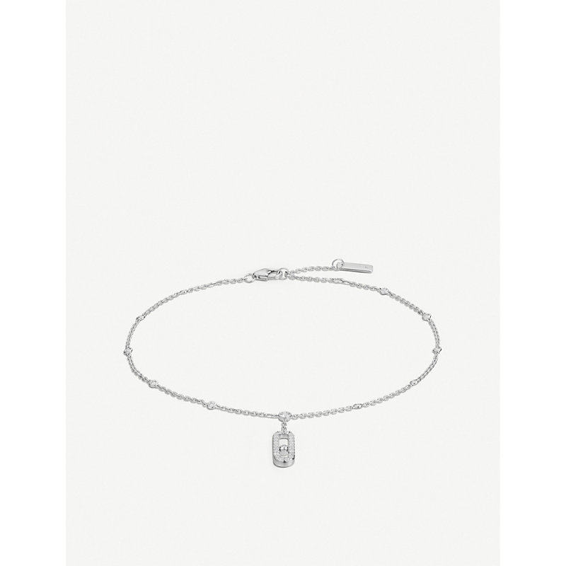 MESSIKA MOVE UNO 18CT WHITE-GOLD AND DIAMOND ANKLE BRACELET
