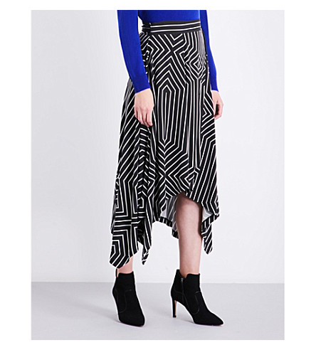 LK BENNETT L.K. Bennett x Preen Shelly striped crepe skirt (Pri-black