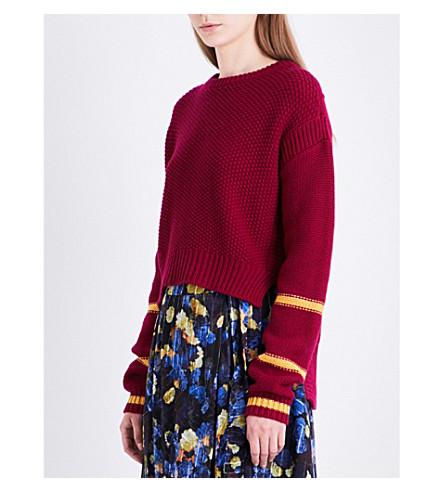 LK BENNETT L.K. Bennett x Preen Annika stepped-hem wool and cashmere-blend jumper (Pin-deep+rose