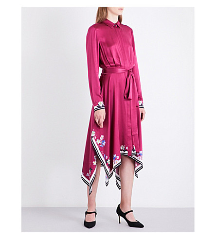 LK BENNETT L.K. Bennett x Preen Devoto silk dress (Pin-deep+rose