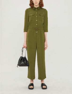Cropped-sleeve satin jumpsuit