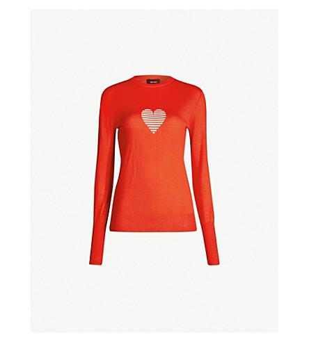 ME AND EM Intarsia heart merino-wool sweater (Burnt orange/blush