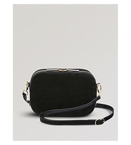 POP & SUKI Camera leather crossbody bag (Noir nubuck