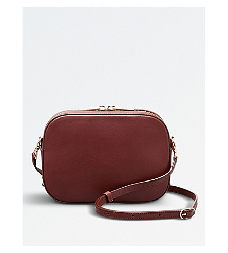 POP & SUKI Bigger camera leather crossbody bag (Cognac