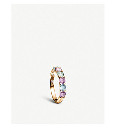 BUCHERER FINE JEWELLERY Pastello Rivière 18ct rose-gold and sapphire ring