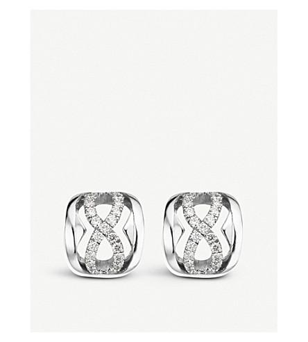 BUCHERER 高级珠宝18ct 白金和钻石耳环