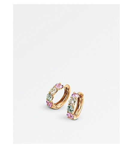 BUCHERER FINE JEWELLERY Pastello Creole 18ct rose-gold and sapphire earrings