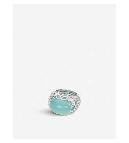 BUCHERER 高级珠宝泪液18ct 白金石 RING