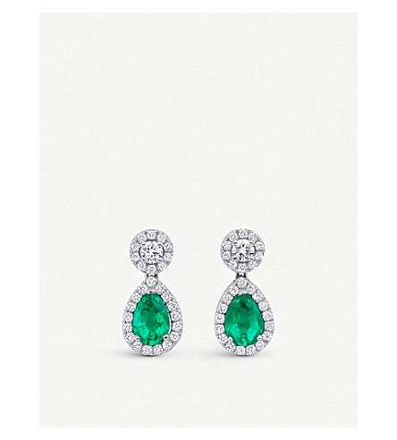 BUCHERER 高级珠宝经典18ct 白金钻石掉落耳环