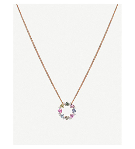 BUCHERER FINE JEWELLERY Pastello 18ct rose-gold, sapphire and diamond necklace