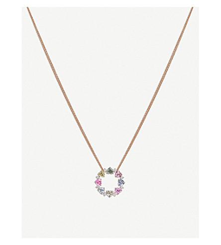 BUCHERER 高级珠宝 Pastello 18ct 玫瑰金蓝宝石钻石项链