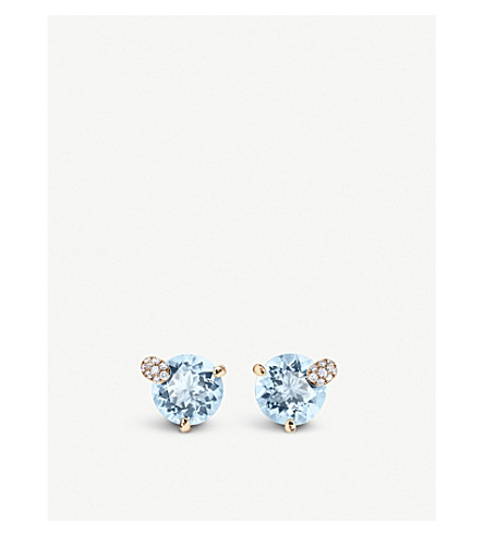 BUCHERER FINE JEWELLERY Peekaboo 18ct rose-gold and aqua stone earrings