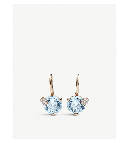 BUCHERER FINE JEWELLERY Peekaboo 18ct rose-gold and aqua earrings