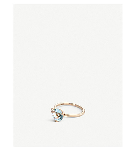BUCHERER FINE JEWELLERY Peekaboo 18ct rose-gold, aqua stone and diamond ring