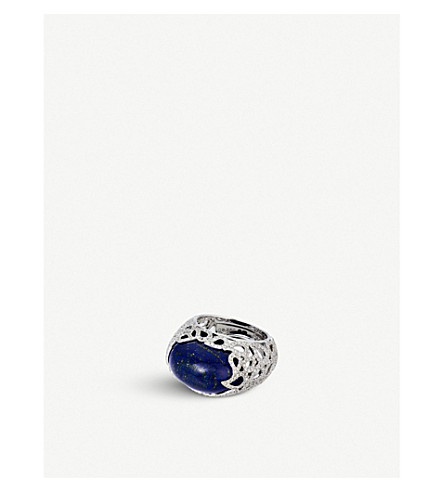 BUCHERER FINE JEWELLERY Lacrima 18ct white-gold, diamond and lapis lazuli ring
