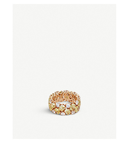BUCHERER FINE JEWELLERY Classics 18ct rose-gold, diamond and gemstone ring