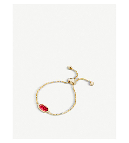 KENDRA SCOTT Elaina 14ct gold-plated and berry glass chain bracelet (Berry