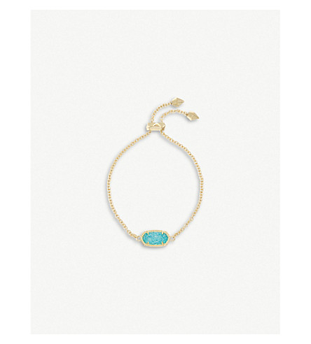 KENDRA SCOTT Elaina 14ct gold and teal drusy chain bracelet (Teal