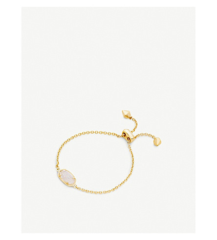 KENDRA SCOTT Elaina gold-plated and iridescent drusy chain necklace (Iridescent