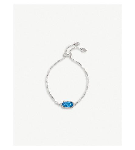 KENDRA SCOTT Elaina rhodium-plated and cobalt drusy chain bracelet (Cobalt