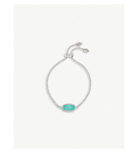 KENDRA SCOTT Elaina rhodium-plated and teal drusy chain bracelet (Teal