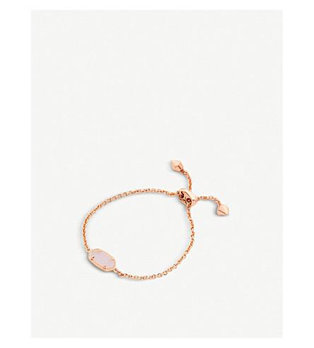 KENDRA SCOTT Elaina 14ct rose gold-plated and light prink drusy bracelet (Rose+gold